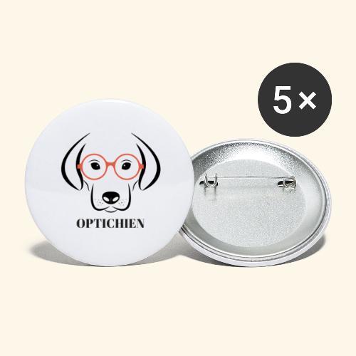 Optichien - Lot de 5 petits badges (25 mm)