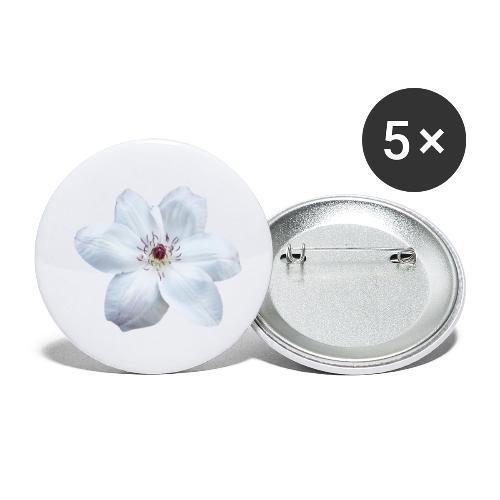 Jalokärhö, valkoinen - Rintamerkit pienet 25 mm (5kpl pakkauksessa)