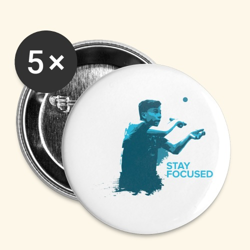 Stay Focused and enjoy the game ping pong - Buttons klein 25 mm (5er Pack)