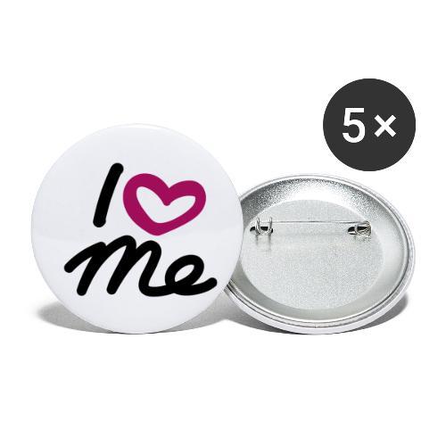 I love me. - Buttons klein 25 mm (5er Pack)