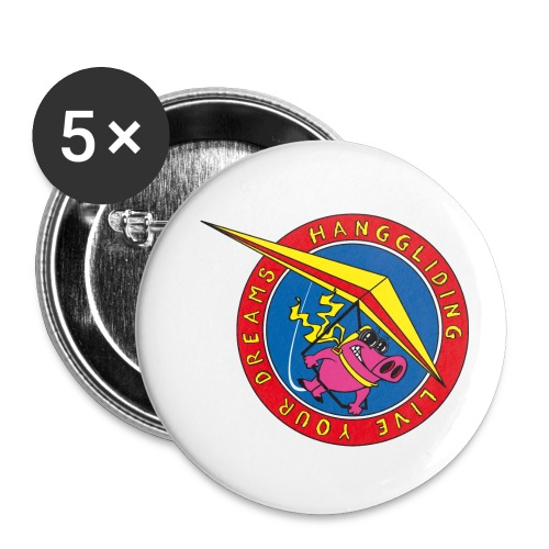 hanggliding pig - Buttons small 1''/25 mm (5-pack)