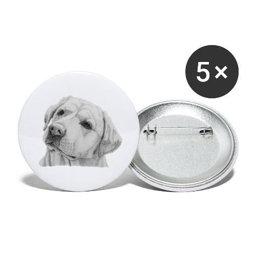 labrador retriever yellow - head - Buttons/Badges lille, 25 mm (5-pack)