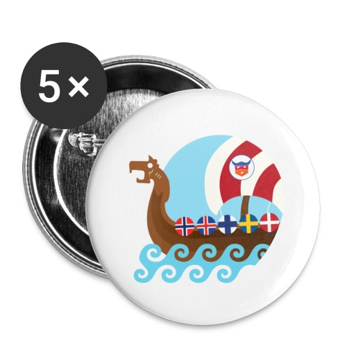 Viking Ship - Buttons/Badges lille, 25 mm (5-pack)