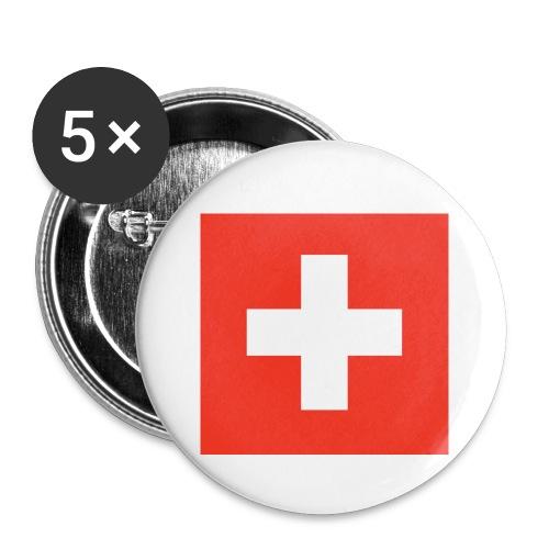 Schweiz - Buttons klein 25 mm (5er Pack)