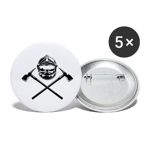 casque_pompier_deux haches - Lot de 5 petits badges (25 mm)