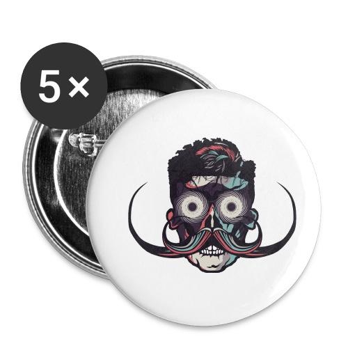 hipster tete de mort crane barbu skull moustache b - Lot de 5 petits badges (25 mm)