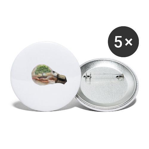 Baum und fliege in einer Glühbirne Geschenkidee - Buttons klein 25 mm (5er Pack)