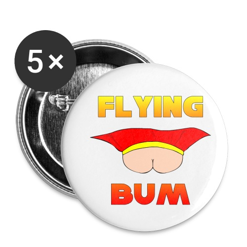 Flying Bum (face on) with text - Buttons small 1''/25 mm (5-pack)