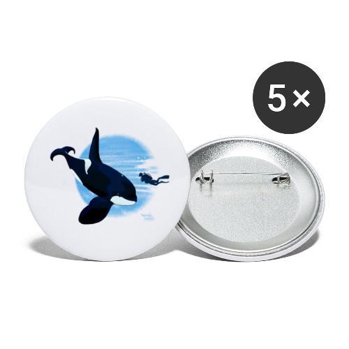 Orca en dappere duiker - Lot de 5 petits badges (25 mm)
