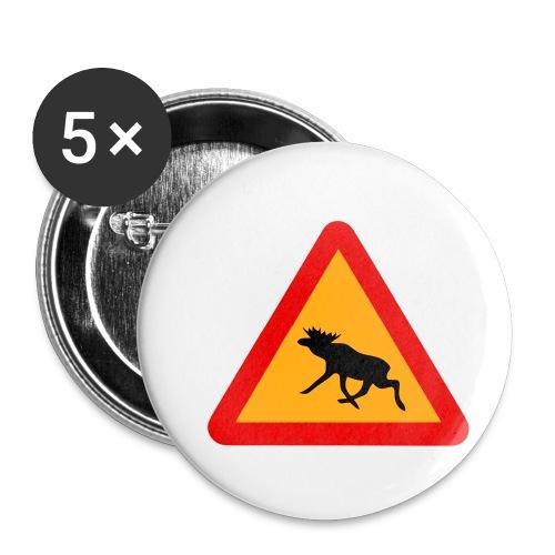 Warnung Elch! Älg! Moose! Schweden Sweden (vektor) - Buttons klein 25 mm (5er Pack)