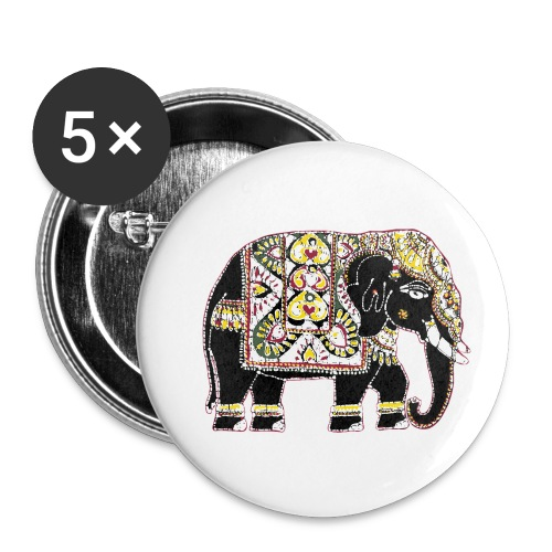 Indian elephant for luck - Buttons small 1''/25 mm (5-pack)