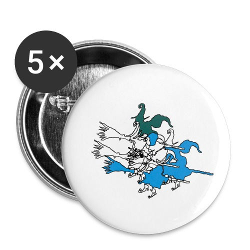 Witches on broomsticks Men's T-Shirt - Buttons small 1''/25 mm (5-pack)