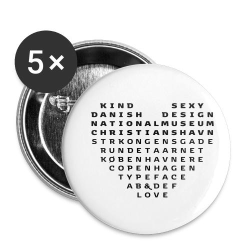 Copenhagen Heart - Buttons/Badges lille, 25 mm (5-pack)