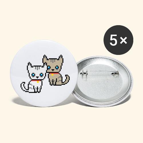 deux chats pixel - Lot de 5 petits badges (25 mm)
