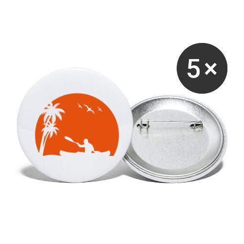 Kanu Kajak paddeln Kanuten Sonne Palmen Sport - Buttons klein 25 mm (5er Pack)