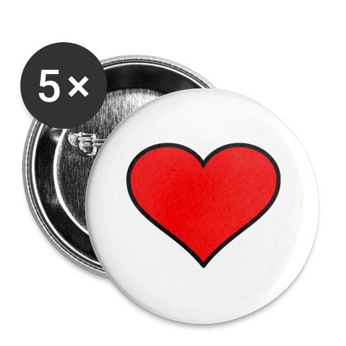 big heart clipart 3 - Små knappar 25 mm (5-pack)