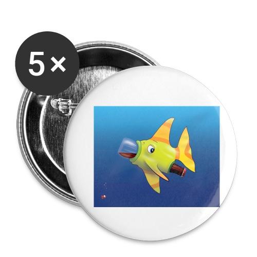 Greedy Fish - Lot de 5 petits badges (25 mm)