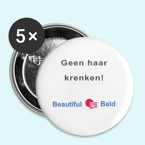 Geen haar krenken - Buttons klein 25 mm (5-pack)