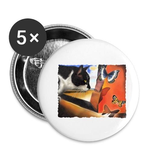 Il gatto di Dalí - Confezione da 5 spille piccole (25 mm)