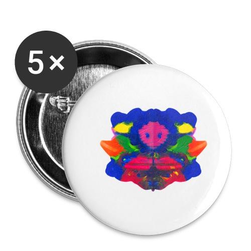 Tintenklecks mit Grusel-Alien in der Mitte - Buttons klein 25 mm (5er Pack)