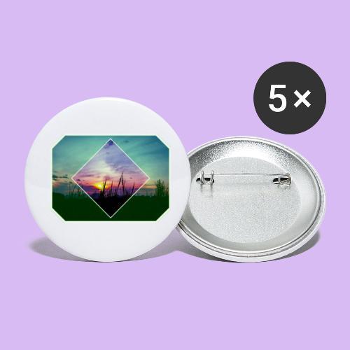 Tramonto in risalto tra figure geometriche - Confezione da 5 spille piccole (25 mm)