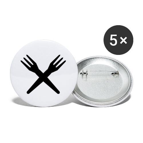 gekruiste frietvorken - trident - Lot de 5 petits badges (25 mm)