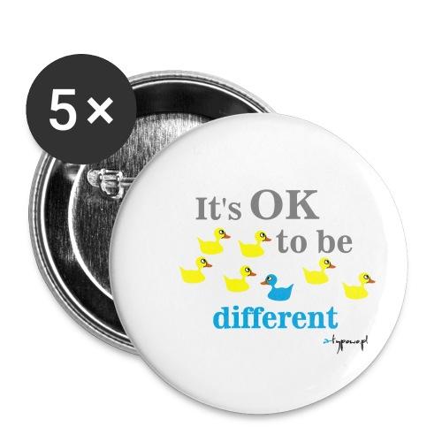 It's OK to be different - Przypinka mała 25 mm (pakiet 5 szt.)