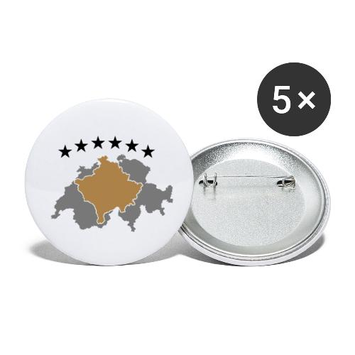 Kosovo Schweiz - Buttons klein 25 mm (5er Pack)