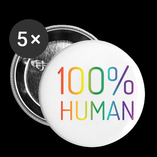 100% Human in regenboog kleuren - Buttons klein 25 mm