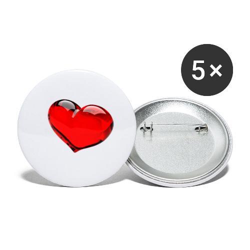 serce 3D - Przypinka mała 25 mm (pakiet 5 szt.)