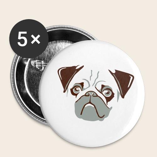 otiz mops kopf 2farbig - Buttons klein 25 mm (5er Pack)