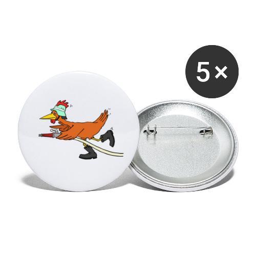 Flori Hahn löscht - Buttons klein 25 mm (5er Pack)