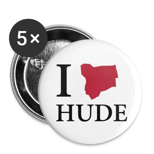 hude i love hude schwarz - Buttons klein 25 mm (5er Pack)
