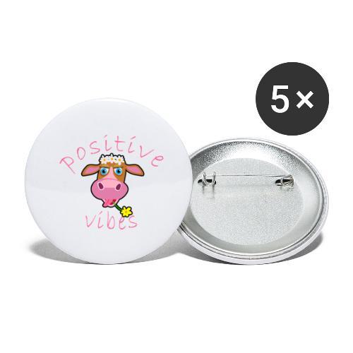 positive cow pink - Confezione da 5 spille piccole (25 mm)