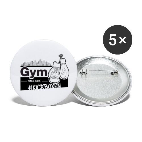 Gym in Druckfarbe schwarz - Buttons klein 25 mm (5er Pack)
