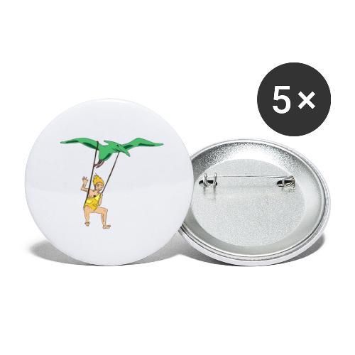 Vol en dinausore - Lot de 5 petits badges (25 mm)