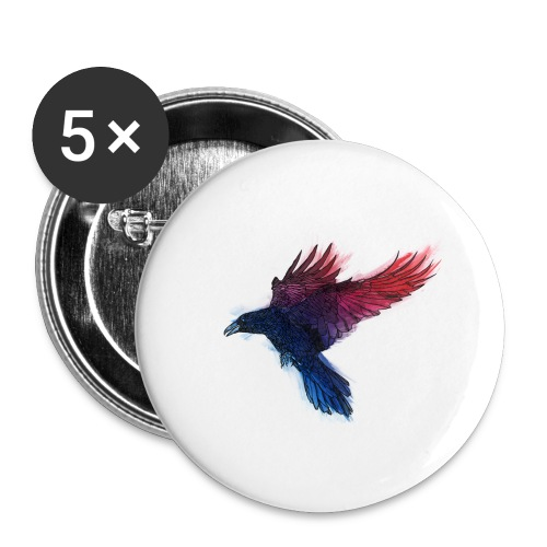 Watercolor Raven - Buttons klein 25 mm (5er Pack)