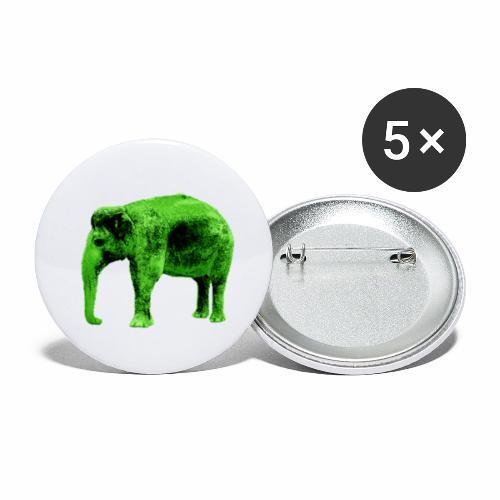 Fröhlicher grüner Elefant - Buttons klein 25 mm (5er Pack)