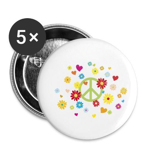 Peacezeichen Blumen Herz flower power Valentinstag - Buttons small 1''/25 mm (5-pack)