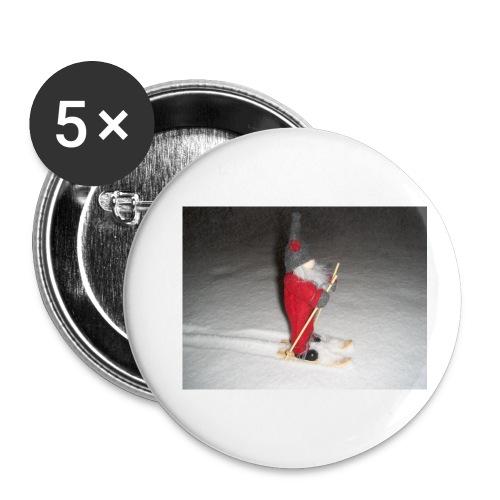 Joulutonttu hiihtämässä - Rintamerkit pienet 25 mm (5kpl pakkauksessa)