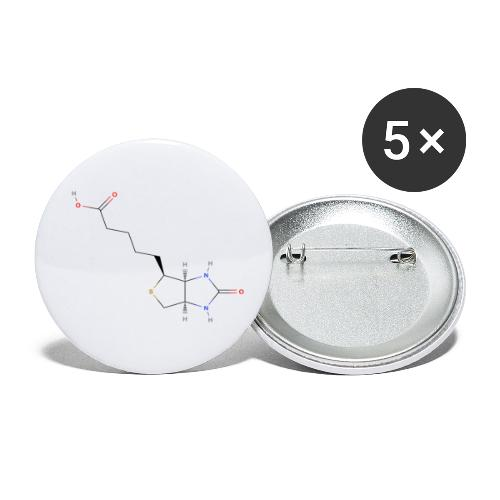 Vitamin H Molecule - Colored Structural Formula - Buttons/Badges lille, 25 mm (5-pack)
