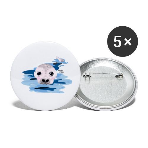 Loutre douce - Lot de 5 petits badges (25 mm)