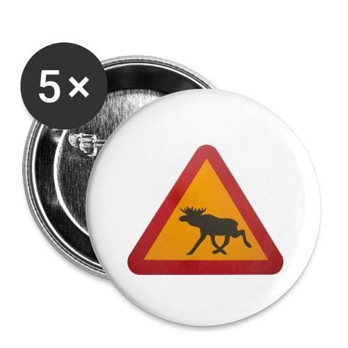 Warnschild Elch - Buttons klein 25 mm (5er Pack)