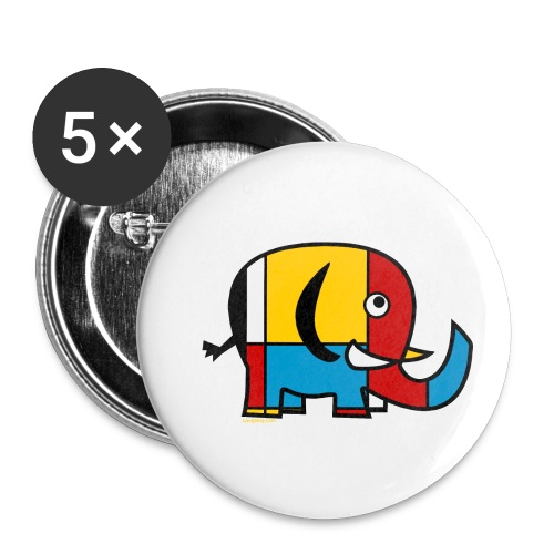 Mondrian Elephant - Buttons small 1''/25 mm (5-pack)