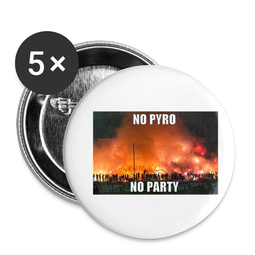 #NoPyroNoParty - Små knappar 25 mm (5-pack)