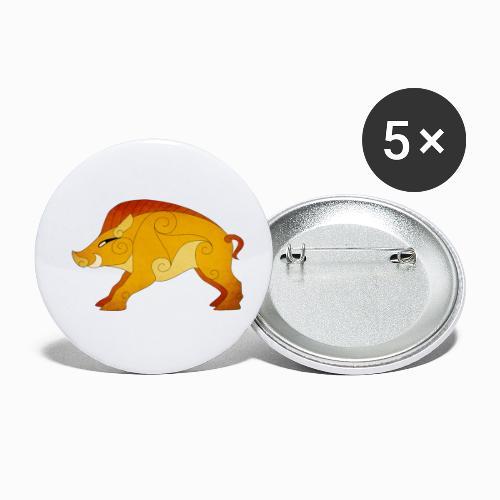 Sanglier Gaulois - Lot de 5 petits badges (25 mm)