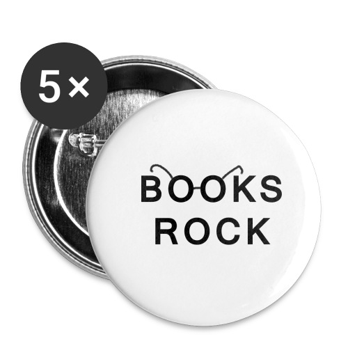 Books Rock Black - Buttons small 1''/25 mm (5-pack)