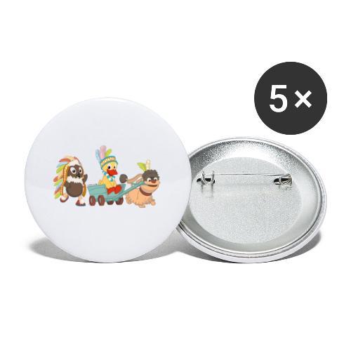 Pittiplatsch Indianerfreunde mit Schnatti & Moppi - Buttons klein 25 mm (5er Pack)