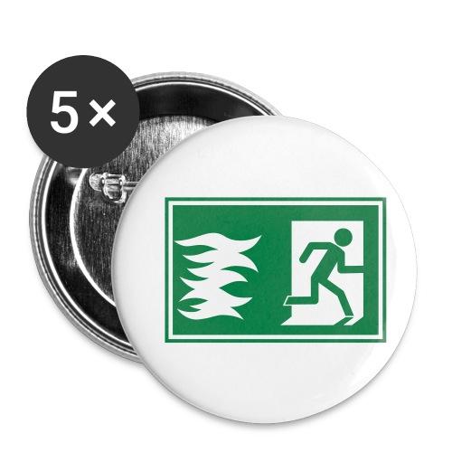 Notausgang / Feueralarm Symbol - Buttons klein 25 mm (5er Pack)