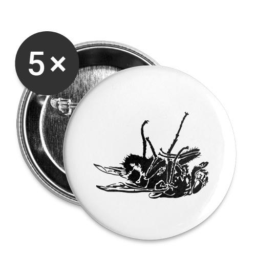 mouche morte - Lot de 5 petits badges (25 mm)